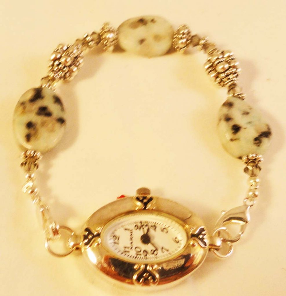 Oval Face Sesame Jasper Beaded Watch