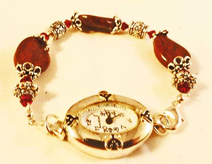 Oval Face Red Jasper  Beaded Watch