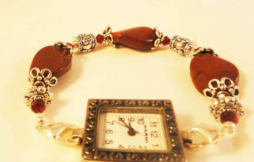 Square face Burgendy Beaded Watch
