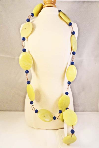 New Jade Necklace with Lapiz  and Bracelet Set