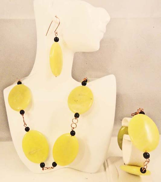 New Jade with Lapiz Beaded Necklace, Earring, and Bracelet Set
