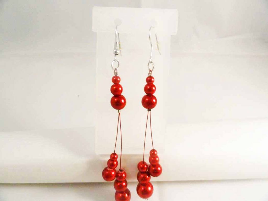 Glass Puppy Red Pearl Earrings