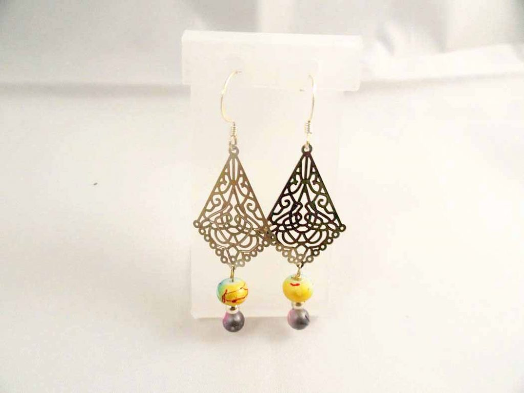 Glass Multi colored Bead Earrings