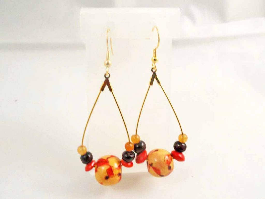 Hand Painted Multi-Colored Pattern Wood Earrings