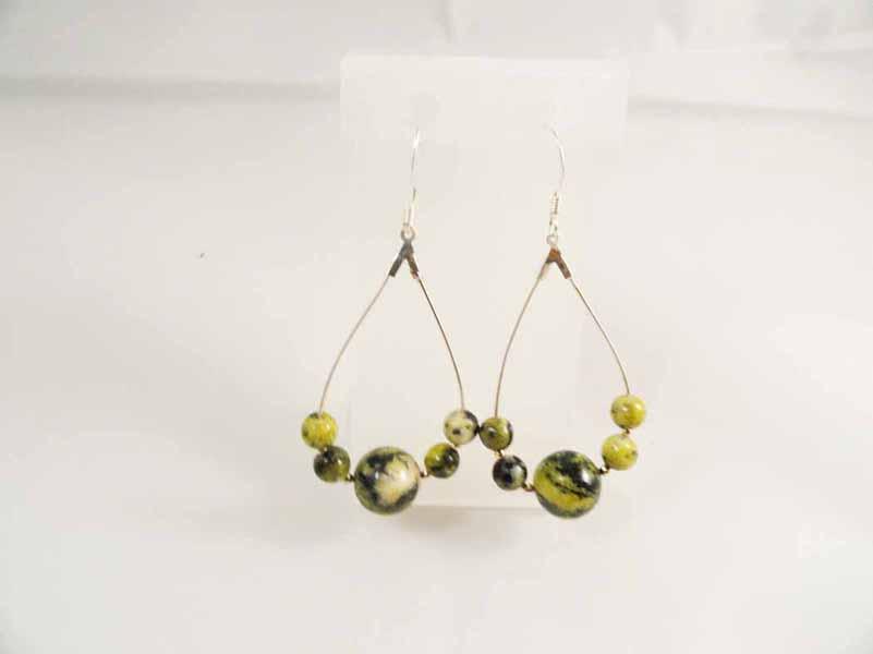 Serpentine Gems Stone Earring Ring