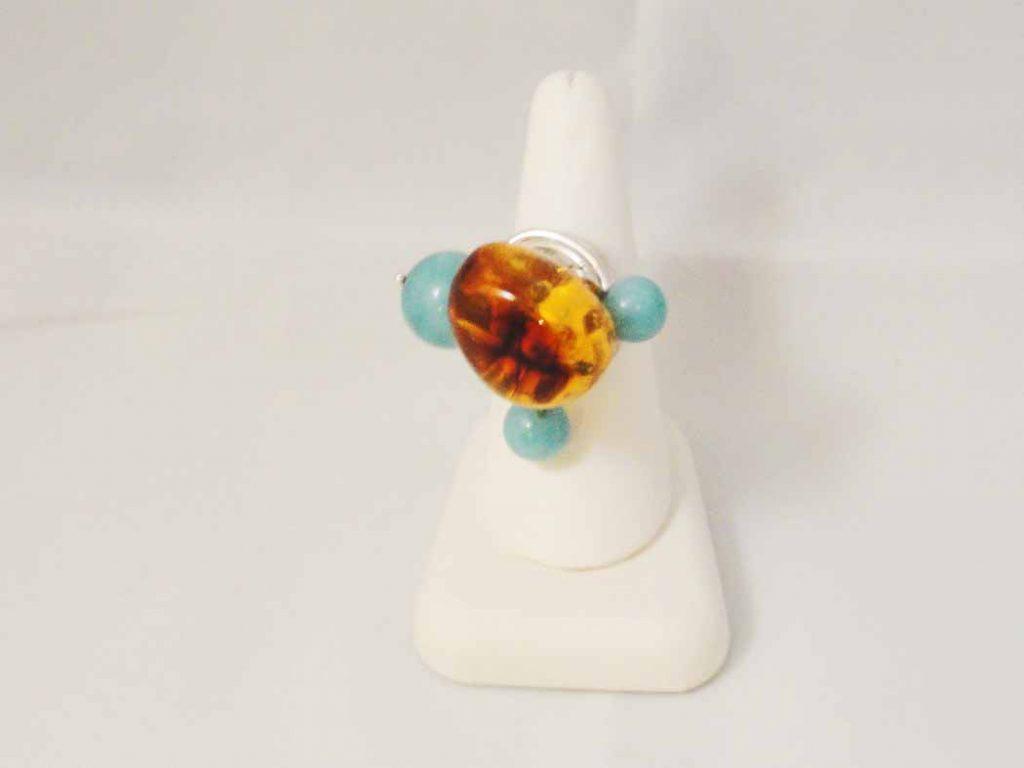 Amber & Amazonite Stone Ring