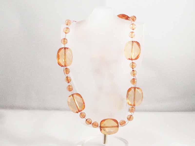 Golden Transparent Glass Beaded Necklace