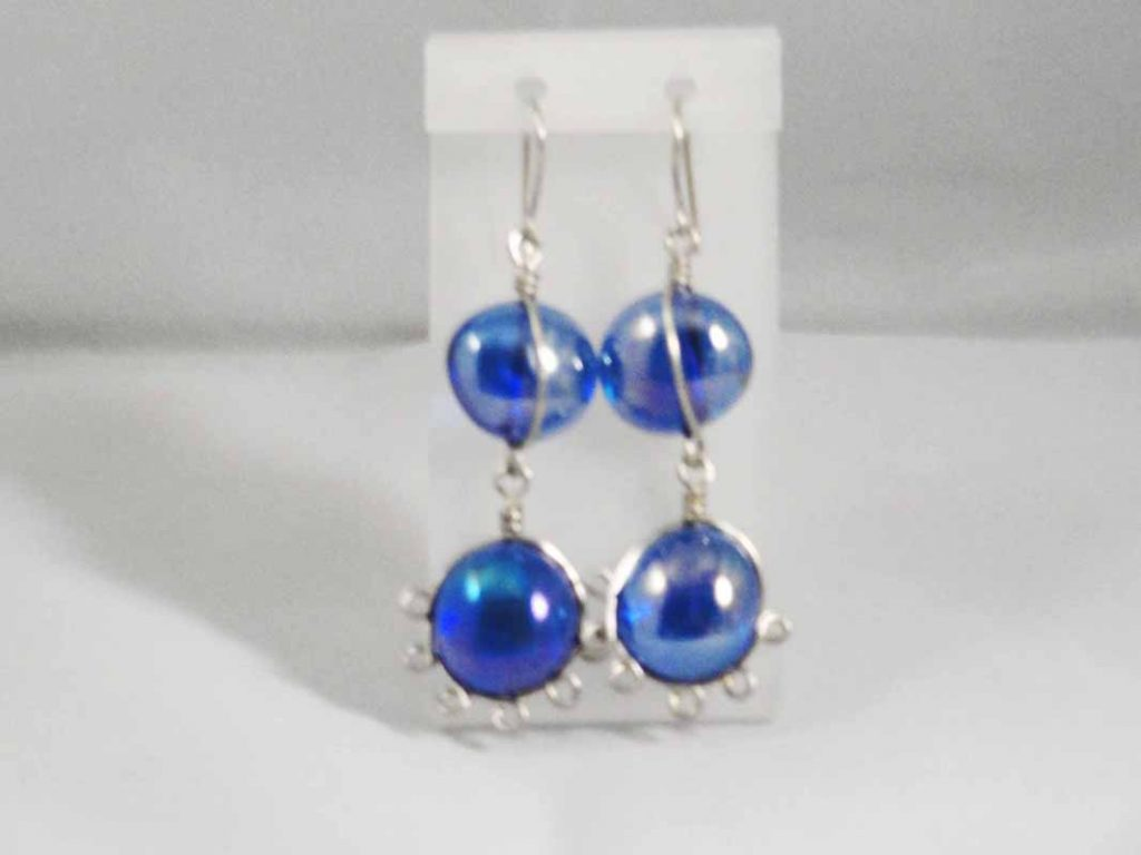 Sterling Silver  Blue Glass Earrings