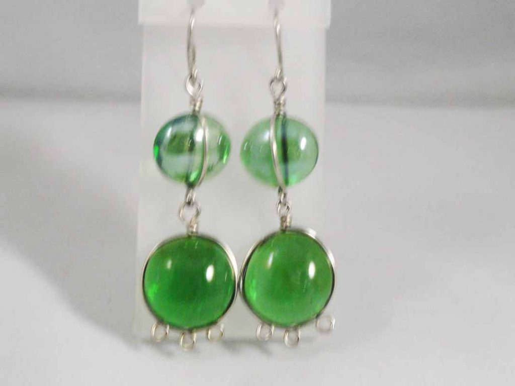 Sterling Silver  GreenGlass Earrings