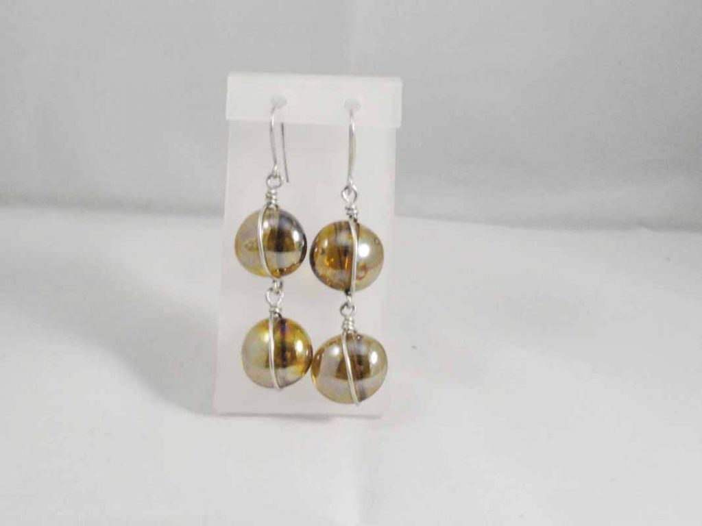 Sterling Silver  Topaz Glass Earrings